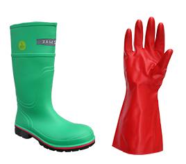 Handschuhe und Sicherheitsstiefel