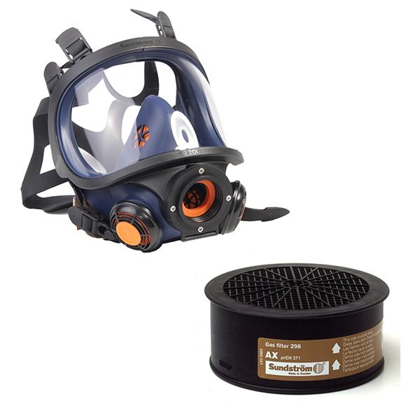 Isofluran-Schutzset 2 Vollmaske SR200 mit Gasfilter AX