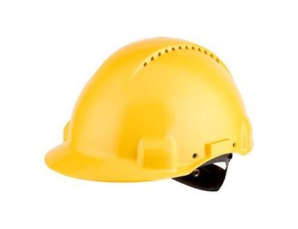 3M G3000 Schutzhelm gelb, belüftet, mit Uvicator, Ratsche und Kunststoffschweißband
